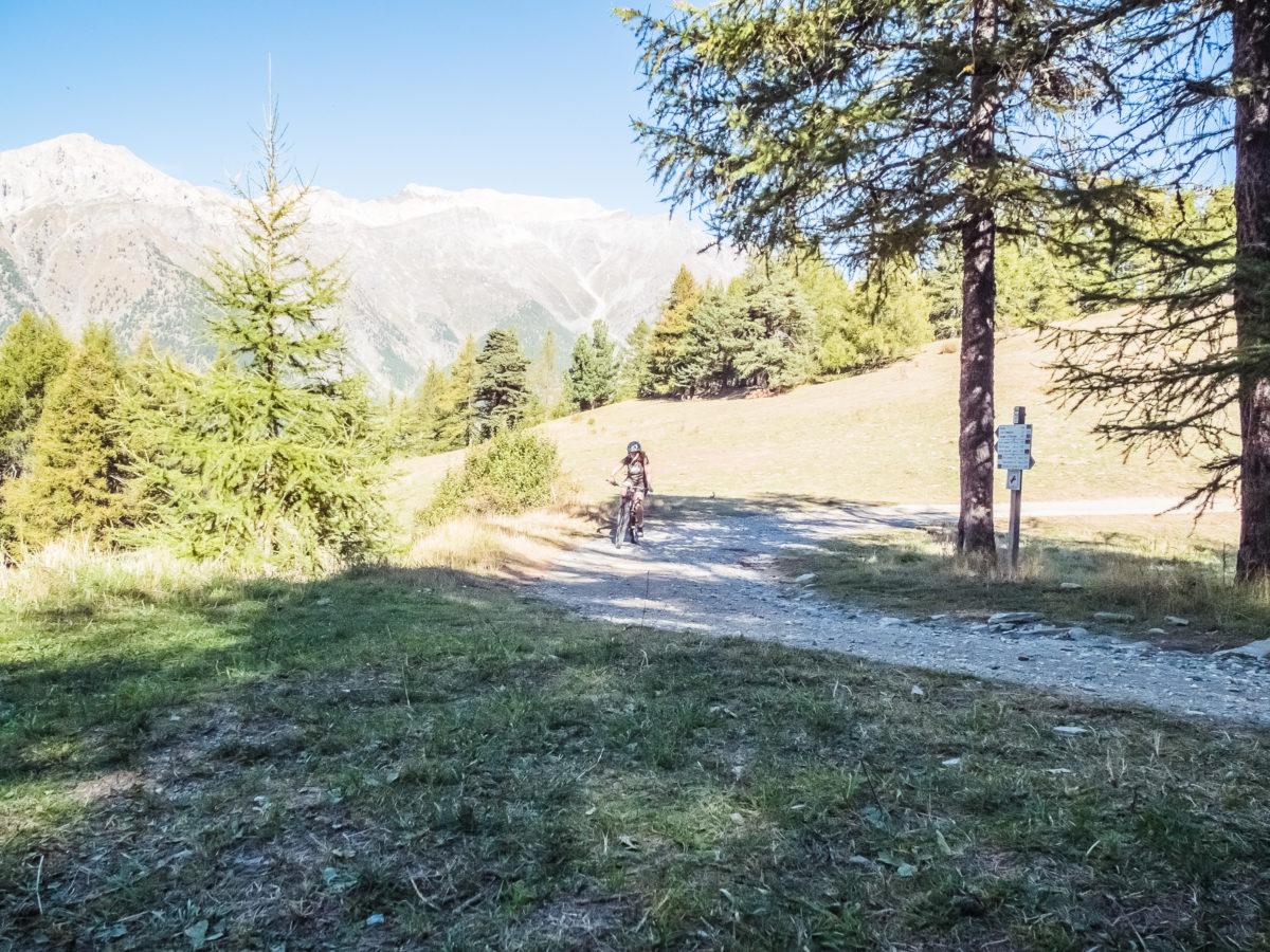 Uphill auf der MTB-Tour rund um den Mont Blegier bei Sauze d'Oulx